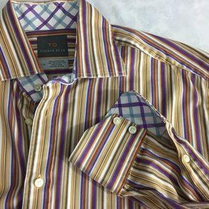 Thomas Dean gold & purple striped dress shirt L